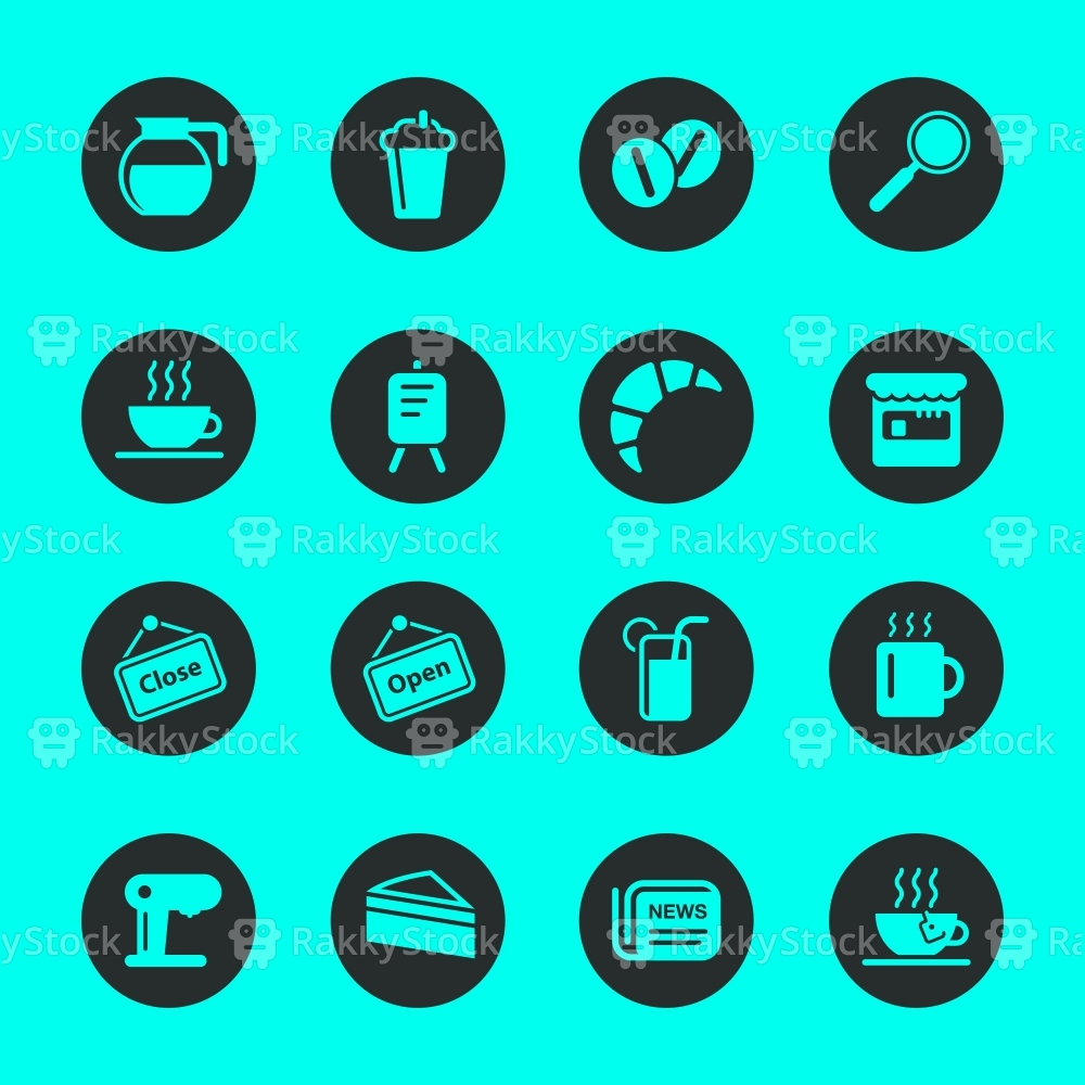 Coffee Shop Icons - Black Circle Series