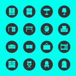 Furniture Icon - Black Circle Series