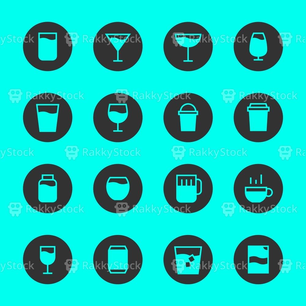 Drink Icon Set 1 - Black Circle Series