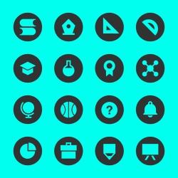 Education & School Icon Set 1 - Black Circle Series