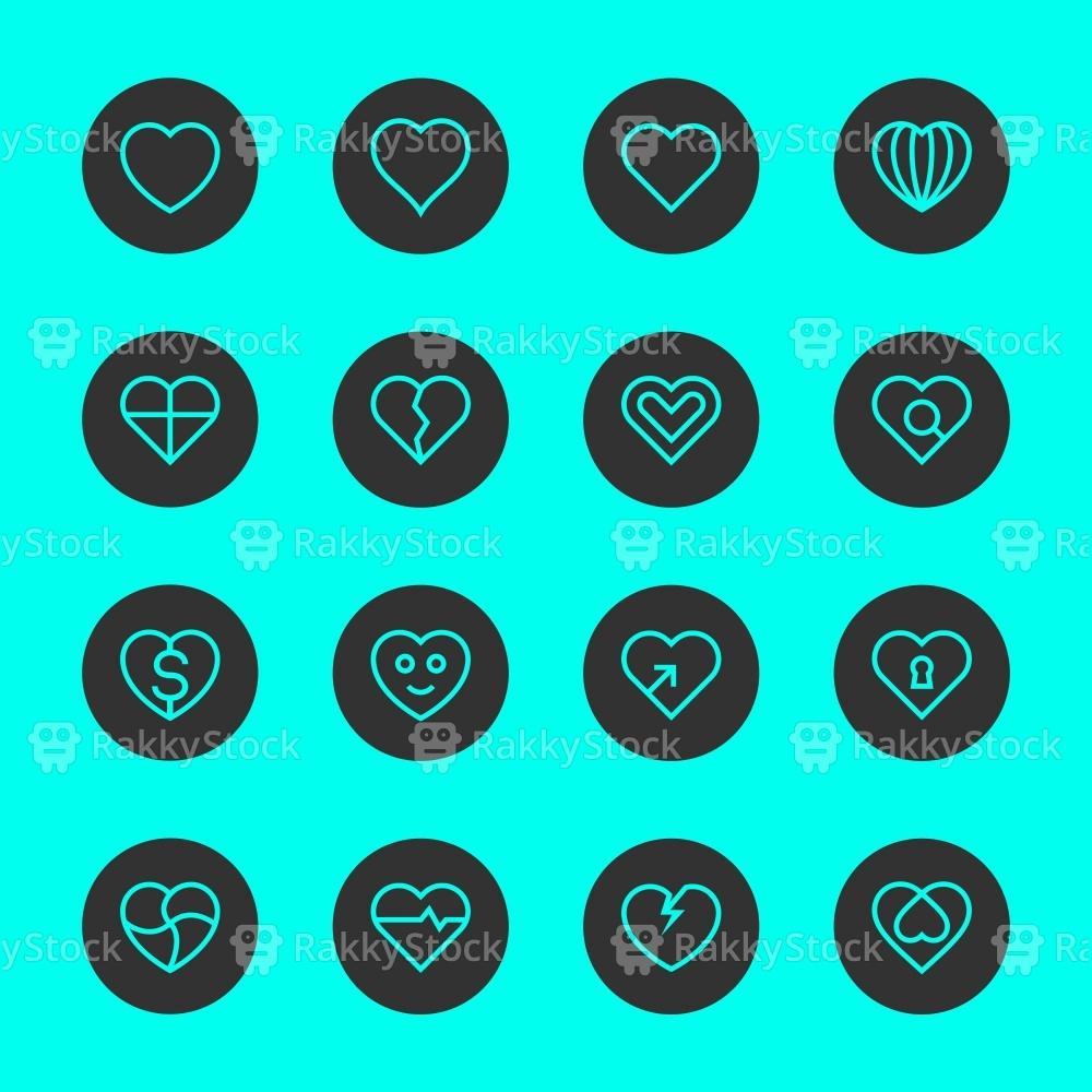 Heart Icon Set 1 - Black Circle Line Series