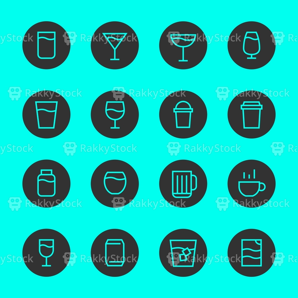 Drink Icon Set 1 - Black Circle Line Series