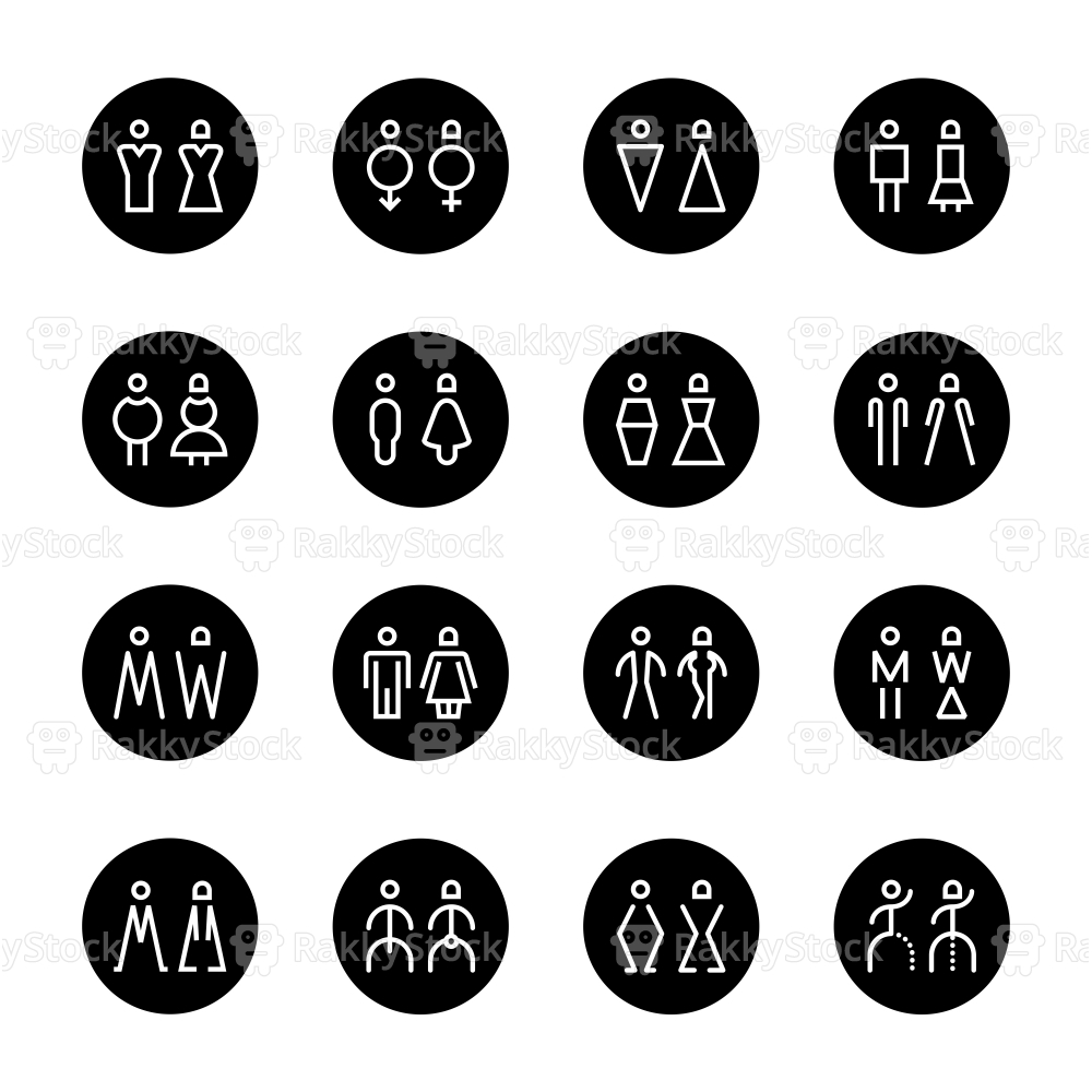 Men & Women Icon - Black Circle Line Series