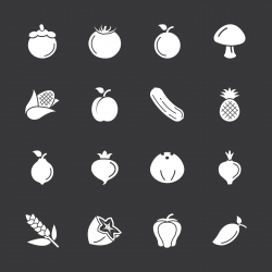 Fruit and Vegetable Icons Set 2 - White Series | EPS10