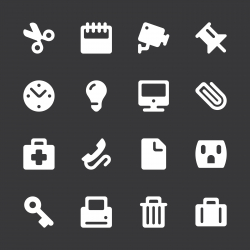 Office Icons - White Series | EPS10