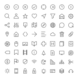 Basic Icon 64 Icons Set 1 - Line Series