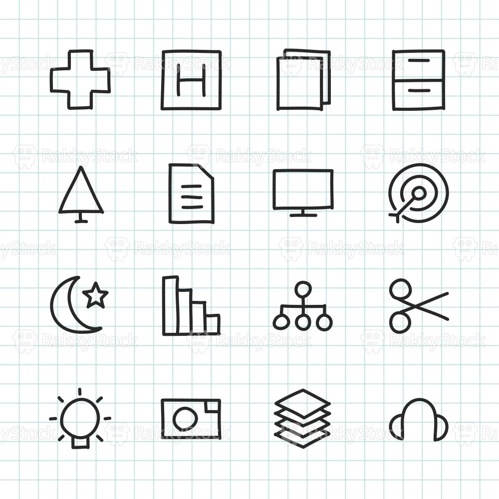 Basic Icon Set 4 - Hand Drawn Series