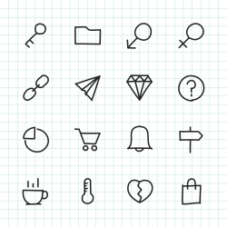 Basic Icon Set 8 - Hand Drawn Series