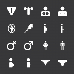 Sex Sign Icons - White Series | EPS10