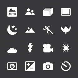 Camera Menu Icons Set 1 - White Series | EPS10