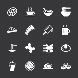 Food and Drink Icons Set 2 - White Series | EPS10