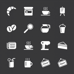 Coffee Shop Icons - White Series | EPS10