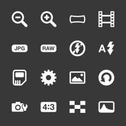 Camera Menu Icons Set 3 - White Series | EPS10