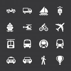 Transportation Icons - White Series | EPS10
