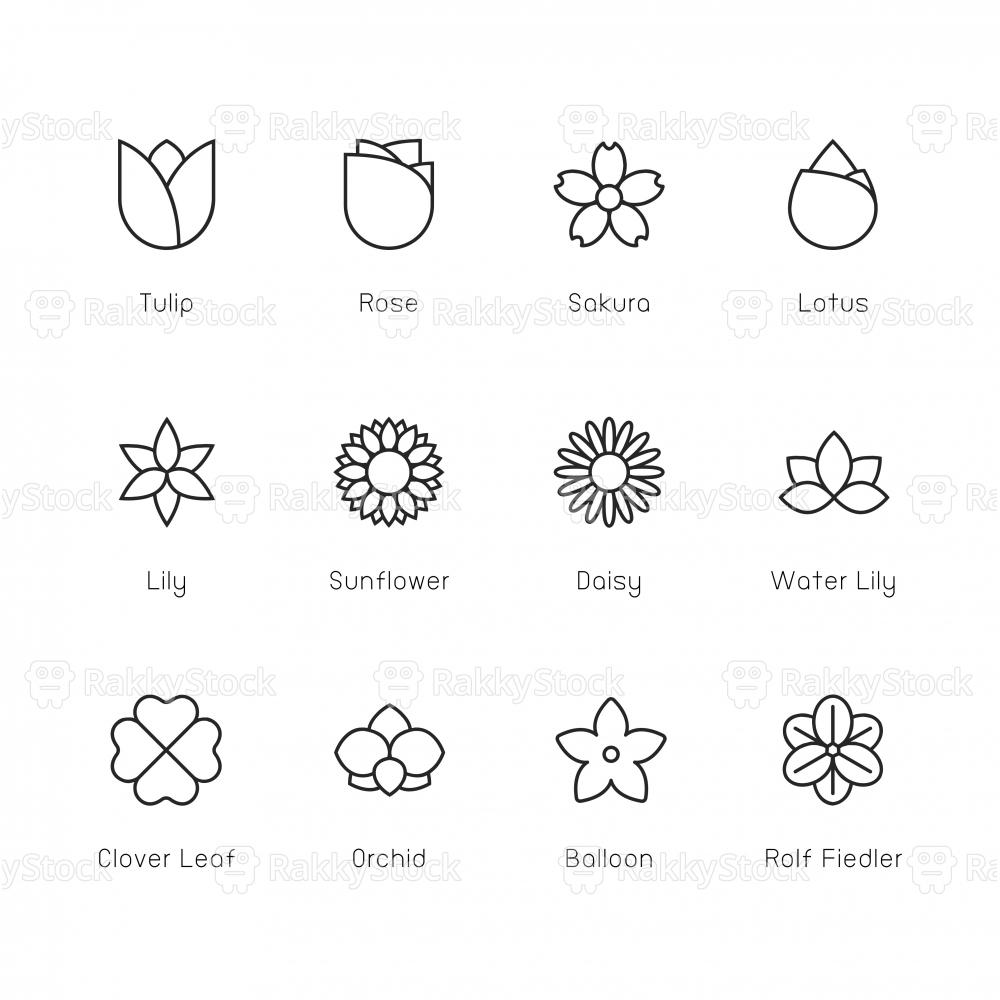 Flower Icon - Thin Line Series