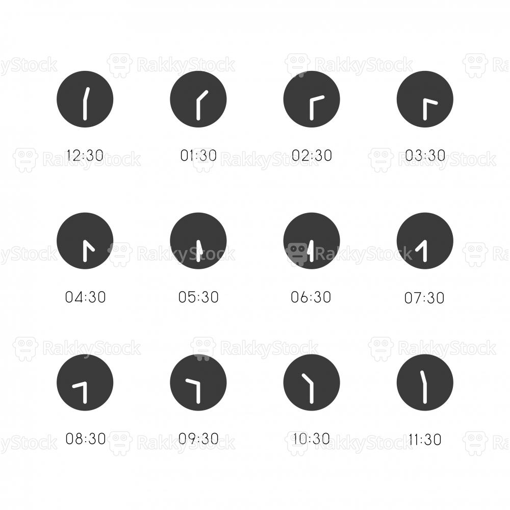 30 Min Clock Icon - Gray Series