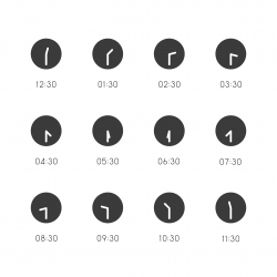 30 Min Clock Icon - Gray Series