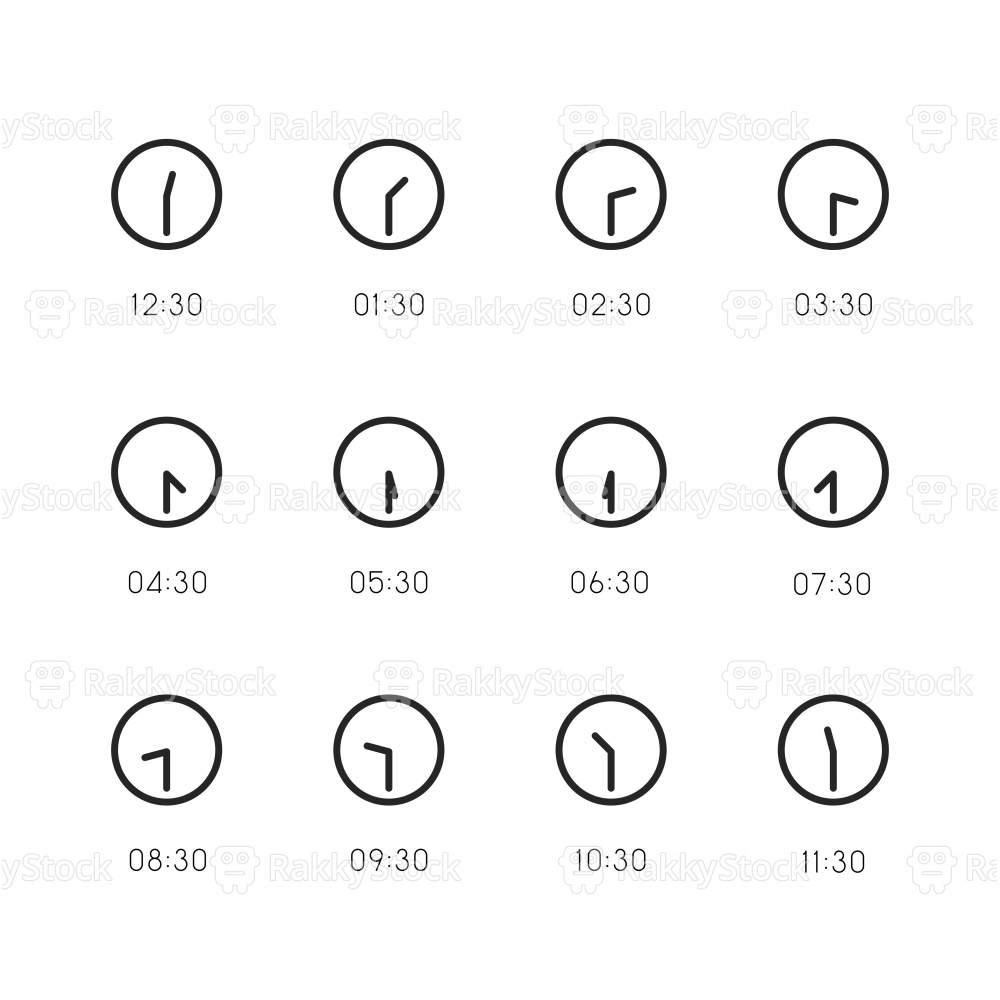 30 Min Clock Icon - Line Series