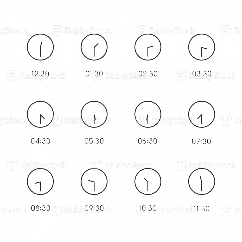 30 Min Clock Icon - Thin Line Series