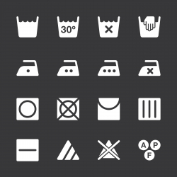 Laundry Sign Icons Set 1 - White Series | EPS10