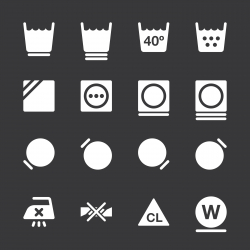 Laundry Sign Icons Set 2 - White Series | EPS10