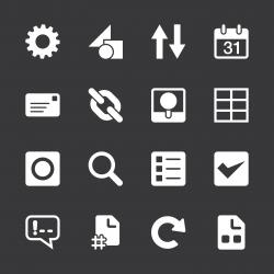 Web Developer Tool Icons - White Series   EPS10
