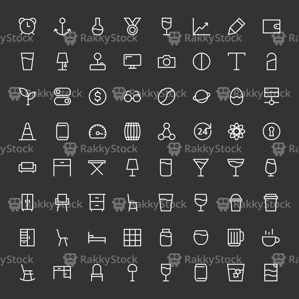 Basic Icon 64 Icons Set 3 - White Line Series
