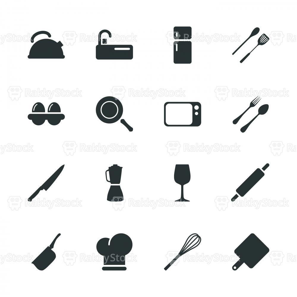 Kitchen Design Silhouette Icons