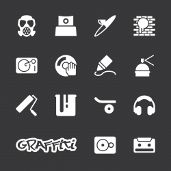 Graffiti Icons - White Series | EPS10