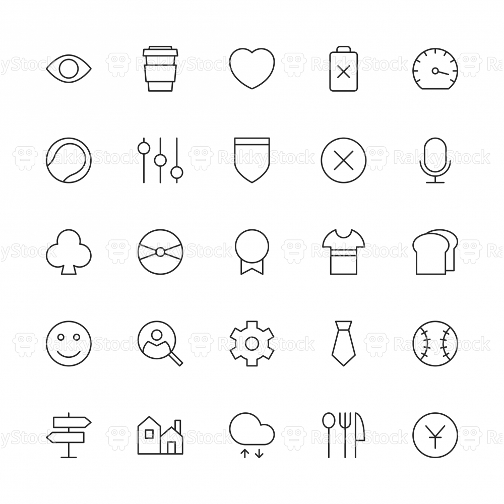 Universal Icon Set 5 - Thin Line Series