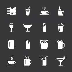 Drink Icons Set 1 - White Series | EPS10