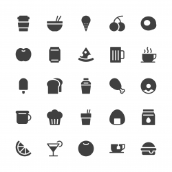 Food and Drink Icon Set 1 - Gray Series