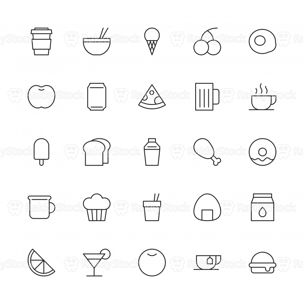 Food and Drink Icon Set 1 - Thin Line Series