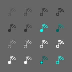 Music Note with Wifi Sign Icon - Multi Series