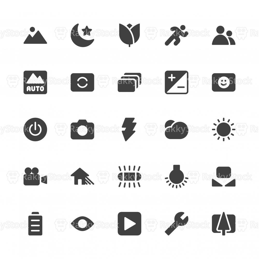 Camera Function Icon Set 1 - Gray Series