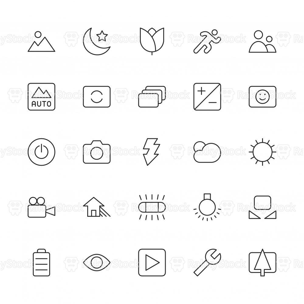 Camera Function Icon Set 1 - Thin Line Series