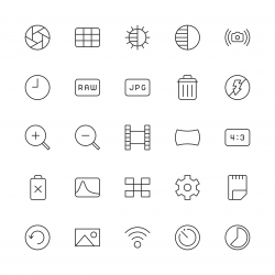 Camera Function Icon Set 2 - Thin Line Series