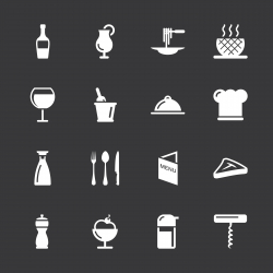 Restaurant Icons - White Series | EPS10