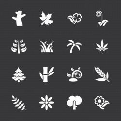 Plant Icons - White Series | EPS10