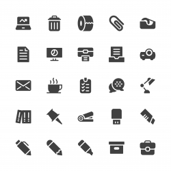 Office Supplies Icon - Gray Series
