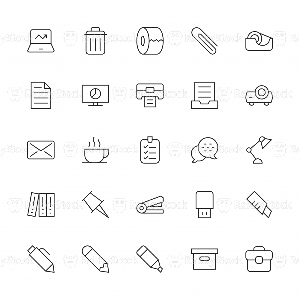 Office Supplies Icon - Thin Line Series