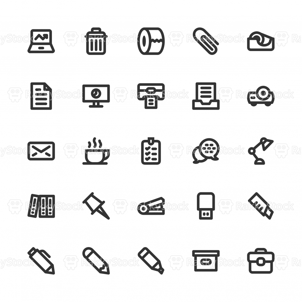 Office Supplies Icon - Bold Line Series