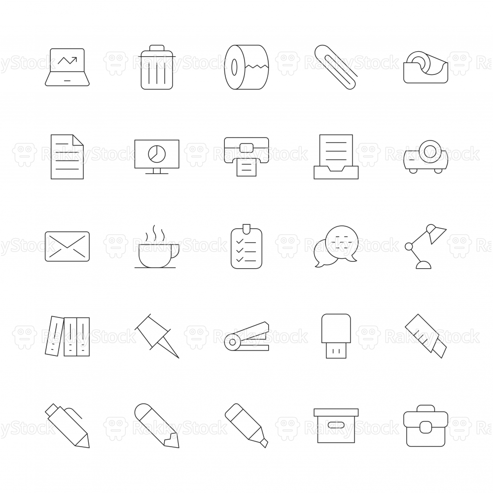 Office Supplies Icon - Ultra Thin Line Series