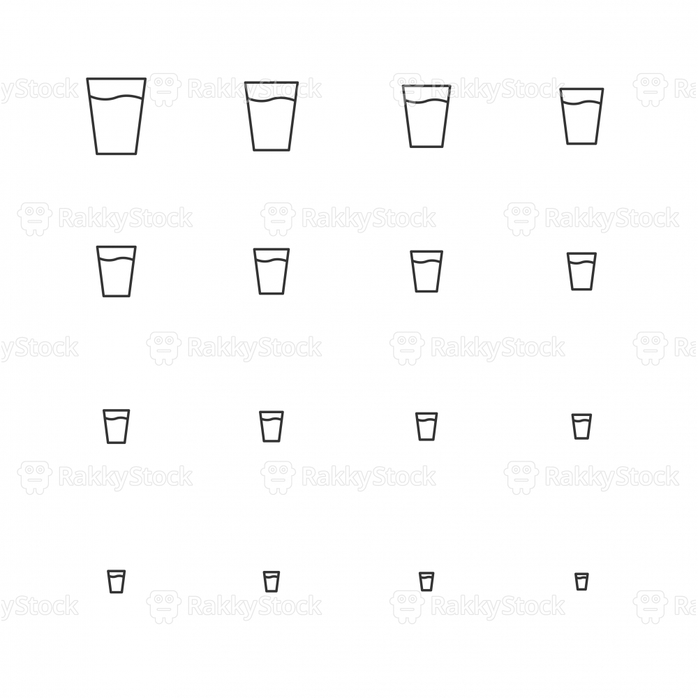 Glass of Water Icon - Multi Scale Line Series