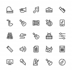 Musical Equipment Icons - Line Series