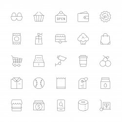 Retail Store Icons - Ultra Thin Line Series