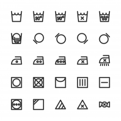 Laundry Sign Icons - Bold Line Series