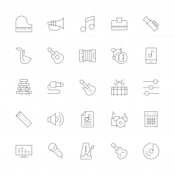 Musical Equipment Icons - Ultra Thin Line Series