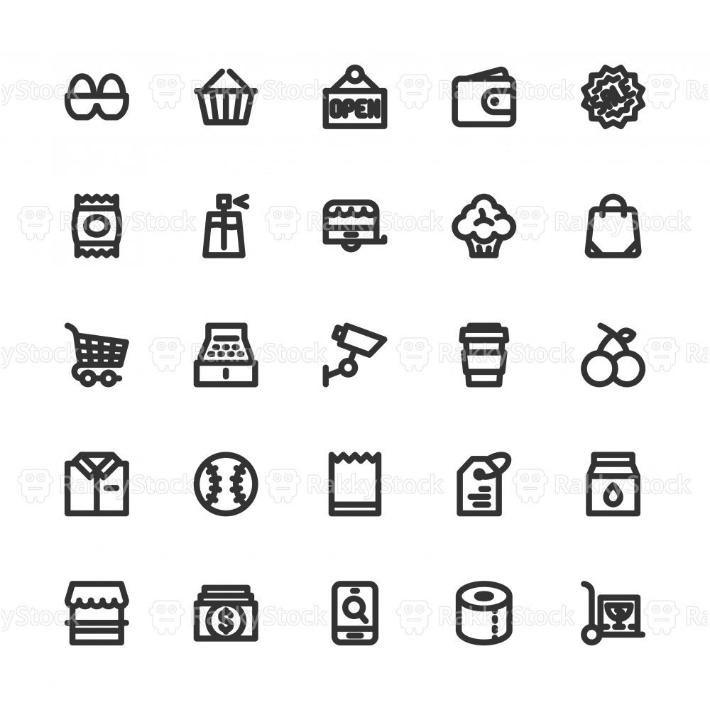 Retail Store Icons - Bold Line Series
