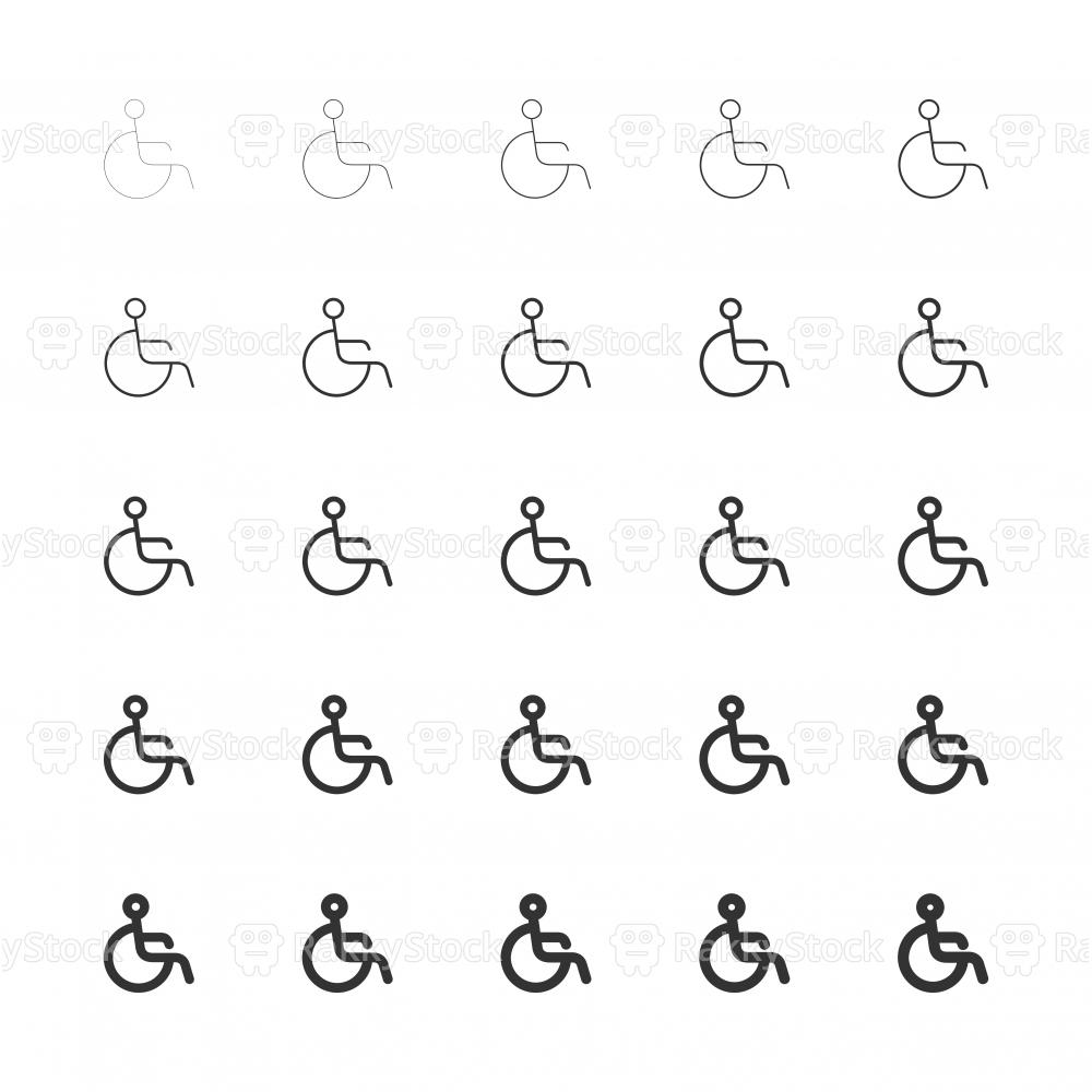 Handicap Sign Icons - Multi Line Series